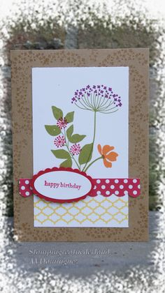 handmade card ... Summer Silhouettes ... colorful stamping ... luv the little flowers stamped tone on tone on the wide border from the kraft base card .. Stampin' Up!
