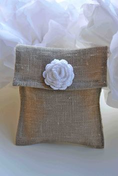 Rustic favor bag with crochet flower Wedding di LeCrochetdOr, $2.00
