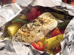 Grilled Lemon Pepper Halibut and Squash Packs
