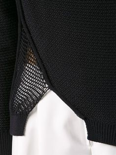 jumper with contrasting panel; contemporary knitwear design details // Phillip LimAsymmetric jumper with contrasting panel; Knitwear Fashion, Knit Fashion, Fashion Details, Fashion Design, Summer Knitting, Jumpers For Women, Knitting Designs, Phillip Lim, Christian Dior