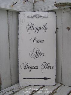 HAPPILY EVER AFTER Begins Here Sign Vintage by MyPrimitiveBoutique