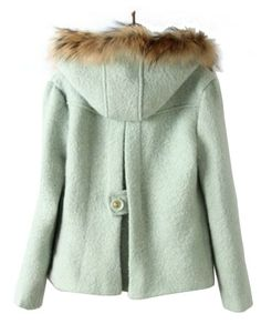 Light Green Fur Hooded Coat