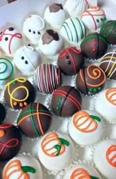 Fall decorated cake balls