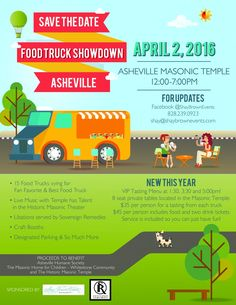 The Asheville Food Truck Showdown 2016 is getting ready to happen with 15 Food Trucks on deck. The proceeds will benefit several great organizations in the Asheville community, so come out and have a great foodie time with us! Asheville Food, Best Food Trucks, Masonic Temple, Tasting Menu, Places To Eat, Live Music, April 2nd, Organizations, Benefit