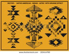 Native American patterns with grunge effect - stock vector