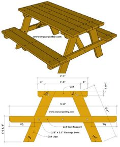 18 Rustic DIY Picnic Tables for an Entertaining Summer Free Plans Diy Picnic Table, Wooden Picnic Tables, Picnic Table Plans, Wood Table, Router Woodworking, Woodworking Furniture, Wood Furniture, Furniture Buyers, Furniture Removal