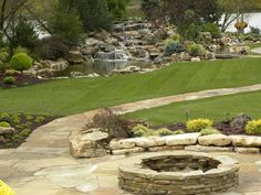Stacked Stone Fire Pit Fire Pit Small's Landscaping Inc Valparaiso, IN