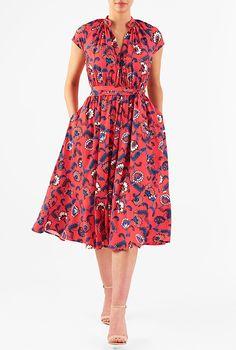 I <3 this Floral print crepe blouson dress from eShakti