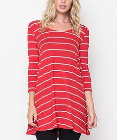 Caralase Red Stripe Three-Quarter Sleeve Tunic | zulily