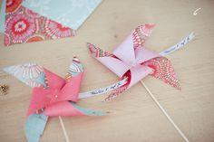 DIY pinwheels used as place cards - selbst gebastelte Windräder als Tischkarten | Fräulein K. Sagt Ja