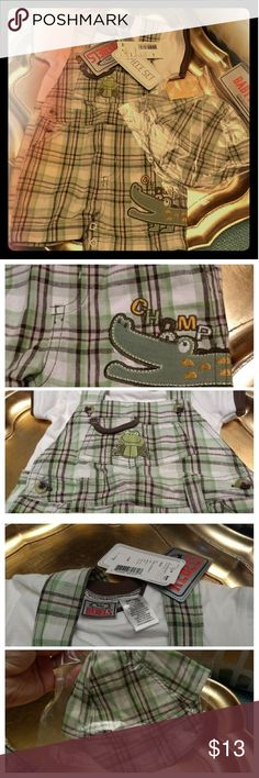 NWT 3pc Green Plaid boys outfit 6/9 mo. Absolutely adorable little matching outfit. Comes with a little matching hat. Green and brown plaid. The package says with socks too but I don't have those. Purchased at Sears.  Thanks for looking and have a fabulous day. :) rebel baby Matching Sets
