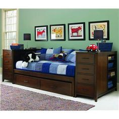 captain daybed with trundle | Twin Daybed with Trundle and Two Piers - Powell's Furniture - Captain ...