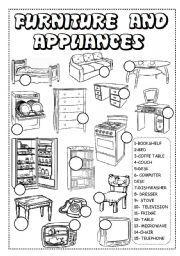 hoja de trabajo Inglés: muebles y electrodomésticos HOJA DE TRABAJO !!