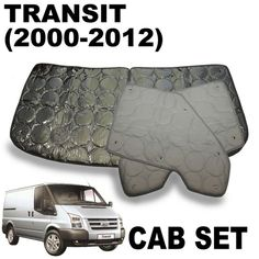 silver screens for cab insulation and black out specially designed and tailored to fit Ford Transit 2000+