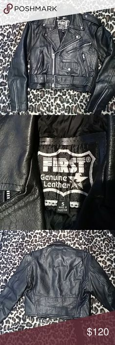 Genuine leather Moto jacket size small Re-poshing this because it's too boxy for my frame. I'm a size XS, or XXS and it just looks too large on my shoulders. This is a thick genuine leather with normal signs of leather wear, but no major flaws or damage. It's in good used condition, and is definitely a heavy duty jacket! Very punk-rock and would be a great jacket for someone into grunge looks. Don't pass this up! ❤️ Jackets & Coats Utility Jackets