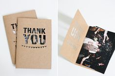 Hochzeit Dankeskarte aus Kraftpapier mit Lasercut und Fotos