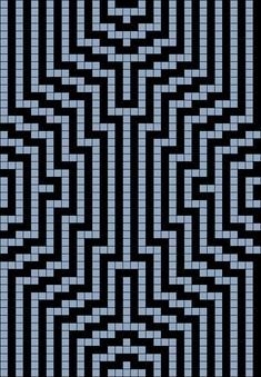 Artwork by at Grid Paint. Bead Loom Patterns, Beading Patterns, Knitting Patterns, Optical Illusion Quilts, Crochet Shawl Diagram, Plastic Canvas Stitches, Geometric Quilt, Peler Beads, Miniature Quilts