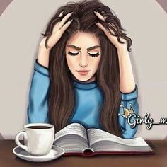 Image shared by Karla Martinez Find images and videos about girl book and coffee on We Heart It in 2020 Beautiful girl drawing Cartoon girl images Digital art girl