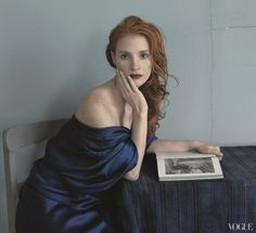 Jessica Chastain photographed by Annie Leibovitz for Vogue USA, December 2013.