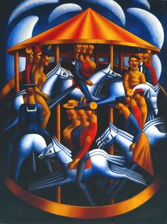 Mark Gertler (1891‑1939) His great futurist 'Merry-Go-Round' of 1916 - the futile shriek against war, while a sinister machine continues locked-in to its predetermined round of slaughter. At least, that is what it has always made me think of. Oddly, however, from what little I have read, Gertler was a grotesquely self-indulgent little shit who gassed himself (after several earlier suicide attempts) in 1939, a few months short of his 48th birthday...