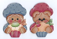 This is a painting pattern that I have created for one of my designs:Cupcake Bakers ornaments or fridge magnets. This e-pattern includes a Gingerbread Cupcakes, Christmas Gingerbread, Gingerbread Houses, Xmas Crafts, Wood Crafts, Ginger Babies, Arte Country, Painted Ornaments, Cute Teddy Bears