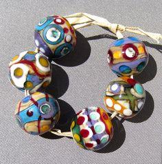 Handmade Lampwork Glass Bead Rounds Carnival Layered Dots s/6