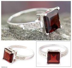 ae52d8c6170e2b Handmade Sterling Silver 'Scarlet Sparkle' Diamond Accent Garnet Ring  (India)