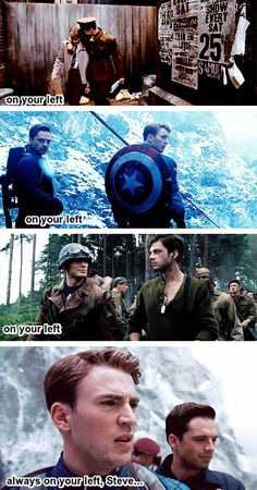 So that's why Cap always says on your left to Sam. Because he wants to be like Bucky was to his new friend. This came from Bucky. Can I get a round of applause for Steve Rogers? First Captain America Movie, Captain America And Bucky, Bucky Barnes, Steve Rogers, Sebastian Stan, Winter Soldier, Marvel Dc Comics, Marvel Avengers, Capitan America Chris Evans