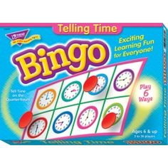 Practice telling time in quarter-hour increments. Learners match time to clock faces. Unique, six-way format adapts to a variety of skill levels, and is a fun learning supplement for small groups or the entire class. Also ideal for learners with disabilities and anyone learning English. Set includes: 36 playing cards, over 200 chips, caller's mat and cards, and a sturdy storage box. - See more at: http://shop.bestteachersupply.com/658-telling-time-bingo-game-t-6072#sthash.JatvH6v5.dpuf
