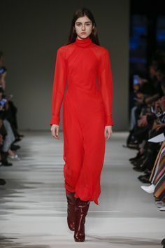 #VBAW17 Victoria Beckham High Neck Asymmetric Twist Midi Dress in Raspberry worn with Heel Calf Leather Boots in Bordeaux.
