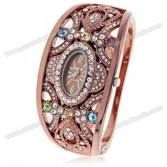 Wholesale Chic Brosk 8037 Oval Dial Rhinestone Decoration Bangle Design Quartz Watch with 6/12 Hour Marks - Coffee (COFFEE), Women's Watches - Rosewholesale.com