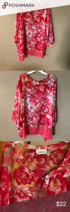 """Plus size Beautiful Chiffon blouse Plus sizeVery nice soft Chiffon blouse can be worn in summer length front 30.5"""" sleeves 18"""" bust  29"""". Nice bright colored flowers. EUC tassel tie front metal buttons romantic sleeves with metal buttons Avenue Tops Blouses"""