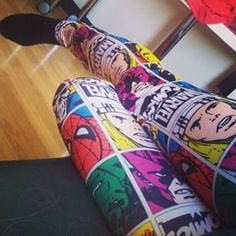 Marvel Comic Book Leggings | 17 Leggings Every Nerdy Girl Needs In Her Life OMG IF SOMEONE COULD GET ME THIS ❤️❤️❤️