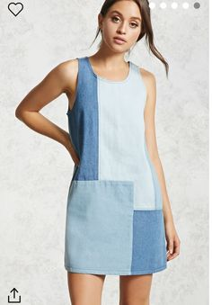 Forever 21 Contemporary – A denim shift dress featuring a patchwork design scoop neckline exposed stitching a sleeveless cut and an exposed side zipper. Fashion Sewing, Denim Fashion, Boho Fashion, Fashion Outfits, Fashion Women, Diy Clothes, Clothes For Women, Denim Ideas, Denim Crafts
