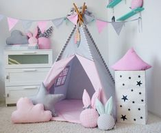 Children's Room Decor – Set of teepee, Wigwam, Kids Teepee, Tipi – a unique product by Linkbrest on DaWanda Childrens Teepee, Teepee Kids, Teepee Tent, Wooden Feather, Star Cushion, Baby Room Colors, Wooden Poles, Star Nursery, Diy Bed