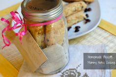 Homemade Biscotti in a Jar with a Coffee Shop gift card.  {Great teacher gift for back to school!}