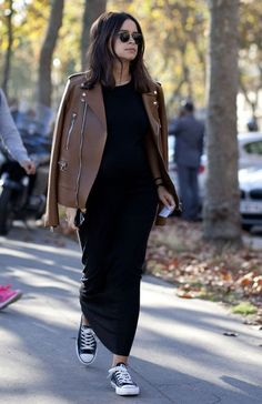 miroslava duma long black dress brown leather jacket street style