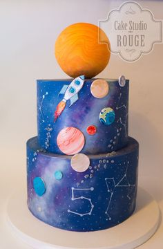 Rocketship, planets, and stars (age written in constellations) Cake Wrecks - Home - Sunday Sweets. Cake Wrecks, Solar System Cake, Rocket Cake, Planet Cake, Galaxy Cake, Space Party, Space Theme, Occasion Cakes, Cakes For Boys