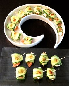 Whipped cream cheese, cucumber and salmon appetizer.