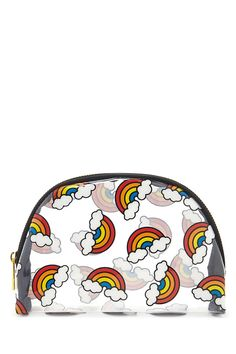 A clear makeup bag featuring an allover rainbow and cloud print and a zipper top.