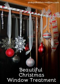 Christmas Window Treatment - I Should Be Mopping the Floor (Pink Polka Dot Creations)