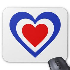 France/French Flag-inspired Hearts Mouse Pad - red gifts color style cyo diy personalize unique