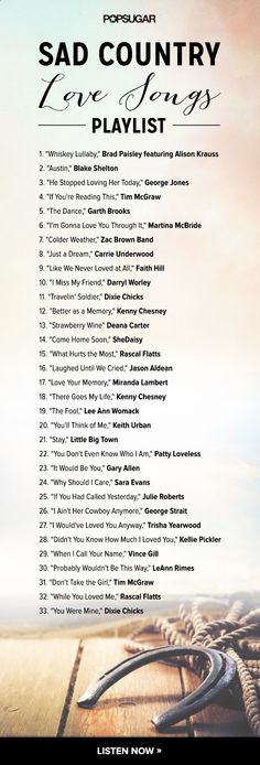 The saddest country love songs, ever  click here to listen to the Spotify playlist!