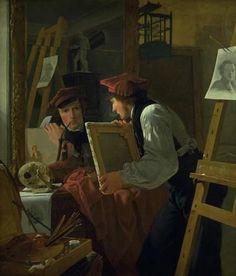 """Wilhelm Bendz (1804-28), """"En ung kunstner (Ditlev Blunck) betragter en skitse i et spejl"""", 1826.  Statens Museum for Kunst / National Gallery of Denmark. http://www.smk.dk/index.php?id=1182"""