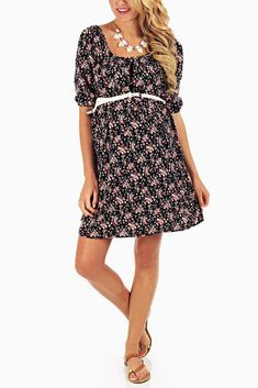 Black-Floral-Belted-3/4-Sleeve-Maternity-Dress #maternity #fashion