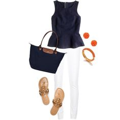 navy & coral by prepinmystep on Polyvore featuring J.Crew, Citizens of Humanity, Tory Burch, Longchamp and Kenneth Jay Lane