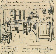 Sketch from van Gogh's Bedroom in Arles. The drawing was included in a letter to Gaugin.