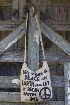 """Natural hemp give back bag """"LET THERE BE PEACE ON EARTH AND LET IT BEGIN WITH ME"""" Pennies for peace receives 5% of bags sales"""
