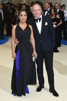 "Salma Hayek and Francois-Henri Pinault attend the ""Rei Kawakubo/Comme des Garcons: Art Of The In-Between"" Costume Institute Gala at Metropolitan Museum of Art on May 1, 2017 in New York City."