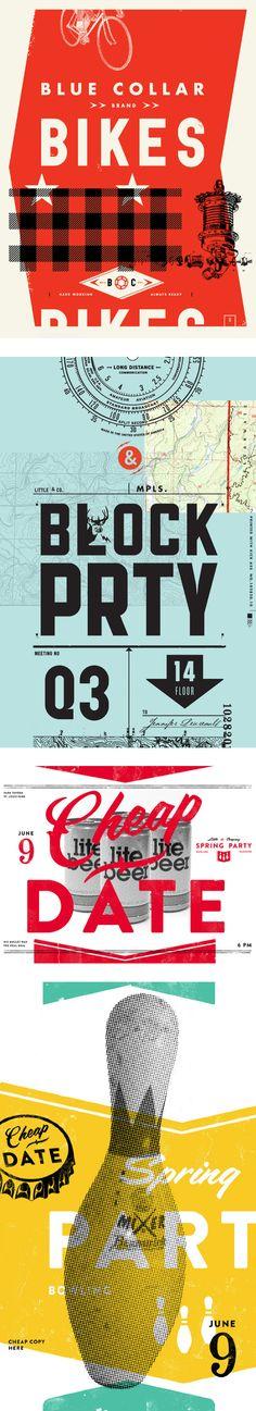 Combinación tipográfica + uso de la tipografía como imagen + lenguaje gráfico + misceláneas